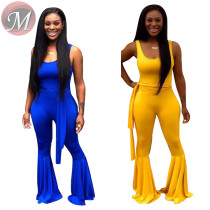 9071932 queenmoen new style fashion solid color sleeveless woman flared leg jumpsuit with belt