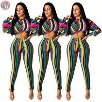 9072531 queenmoen fashionable long puff sleeve pencil pants summer woman clothing 2 piece pants set