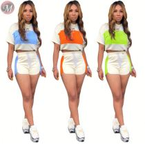 9072509 queenmoen new arrival summer short sleeve color block spliced hooded woman 2 piece short set