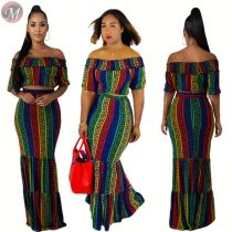 9072508 queenmoen hot new arrival print off shoulder woman crop top and skirt 2 piece set