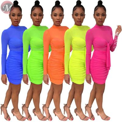 9072626 queenmoen new stylish solid color long sleeve pleated mesh woman sexy mini club dress