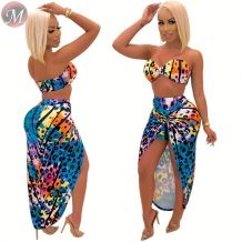 9072627 queenmoen wholesale hot summer strapless printed woman bra top skirt sexy swimsuit two piece