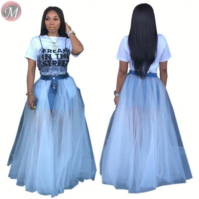 9072926 queenmoen wholesale hot denim patchwork fashion woman loose pleated maxi skirt for Pros and cons wear