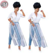 9073034 queenmoen wholesale new fashion front long tassel washed blue pencil woman skinny denim jeans