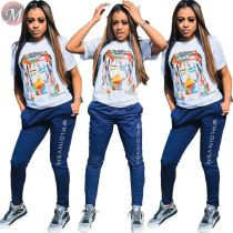 9073008 queenmoen new figure abstract print nightclub wholesale woman polyester fabric t shirt