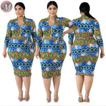 D90801004 queenmoen hot sale casual long sleeve printed fat woman plus size bandage knee length dress