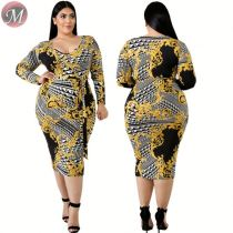 D90801007 queenmoen newest hot long sleeve v-neck floral print plus size woman casual long pencil dress