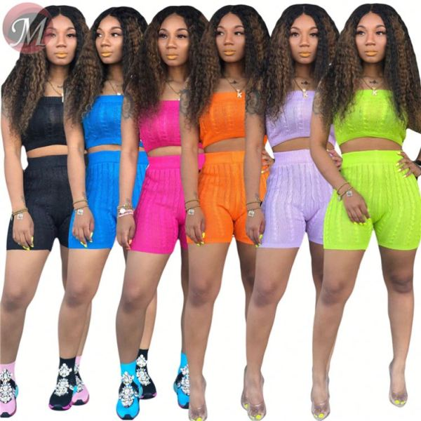 9080105 queenmoen wholesale hot classic color top shorts sweater woman clothing rompers two piece set