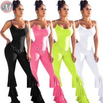 9080104 queenmoen new stylish layered flare pants solid color tank top summer sexy woman maxi jumpsuit