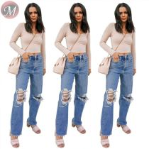 9080102 queenmoen new fashion streetwear casual washed ripped woman long straight pants jeans