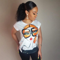 Q080608 New design casual style round neck solid color cartoon printed woman t-shirt