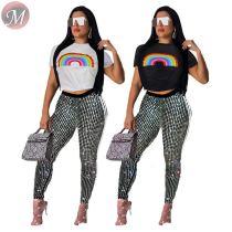 9080120 queenmoen wholesale fashion short tshirt pencil sequined casual woman pants two piece set