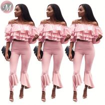 9080107 queenmoen hot sale latest fashion summer clothes layered ruffle shirt and pant pink pieces set