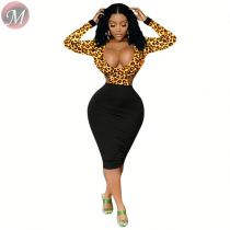 9080113 queenmoen hot selling deep v long sleeve back hollow-out ladies leopard printing bodycon dress