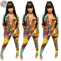 9080110 queenmoen newest hot long sleeve v neck full print tight slim ladies women casual maxi jumpsuit
