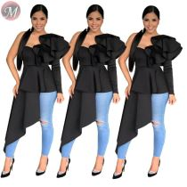 9080504 queenmoen wholesale new one shoulder black sexy long tail long sleeve ruffle woman blouse