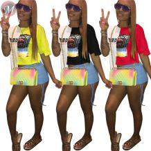 9080518 queenmoen newest design contrast color irregular length short sleeve printed women T shirt