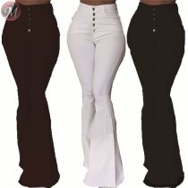 9080525 queenmoen fashionable autumn solid single-breasted simple high waist casual woman pants