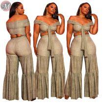 9080514 queenmoen 2019 fashion off shoulder crop top snakeskin wide leg woman pants clothing two piece set