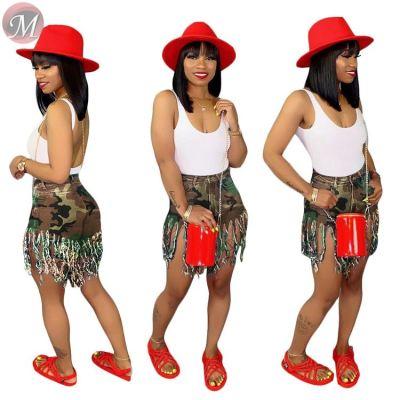 9080223 queenmoen hot sale wholesale ripped tassel casual summer woman camouflage short denim jeans