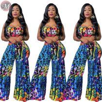 9080505 queenmoen new fashion crop vest top loose wide leg pants nice print woman two piece set