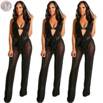 9080519 queenmoen fashion sexy solid color hooded backless straight leg deep v mesh sexy woman jumpsuit