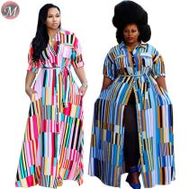 D90802009 queenmoen wholesale hot short sleeve button up new plus size ladies summer striped maxi dress