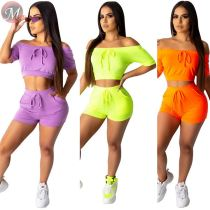 9080621 queenmoen sexy fashion solid color off the shoulder short sleeve sexy woman clothing two piece set