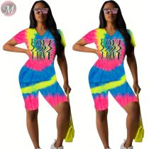 9080625 queenmoen hot onsale colorful letter positioning print v neck tie dye woman two piece short set