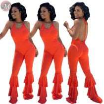 9080619 queenmoen fashion sexy halter backless layered flare leg solid color woman sleeveless sexy jumpsuit