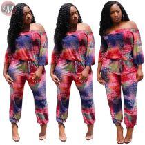 9073020 queenmoen hot selling letter printing long sleeve off shoulder long pants woman summer jumpsuit