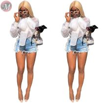 9080831 queenmoen new stylish organza long puff sleeve bow transparent casual white woman shirt