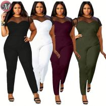D908021 queenmoen fashionable short sleeve round neck mesh patchwork sexy fashion solid plus size woman jumpsuit