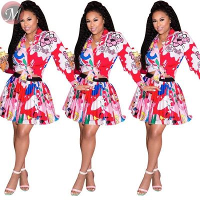 9080915 queenmoen wholesale fashion long sleeve short shirt mini pleated skirt cartoon print two piece woman dress