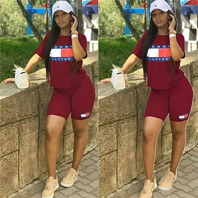 Q081213 New arrival casual short sleeve letter print shirt bandage short two piece set for woman