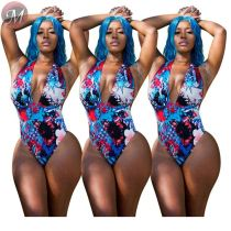 9080926 queenmoen 2019 casual halter deep v neck floral print leisure fashion one piece swimwear women swimsuit