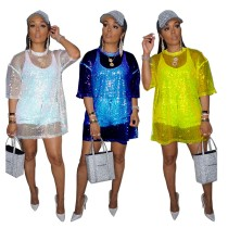 9081230 queenmoen new design short sleeve round neck mesh see through nightclub sexy long sequin women T shirt