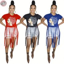 9081312 queenmoen newest design short sleeve character print splicing tassel casual polyester O neck women t-shirt