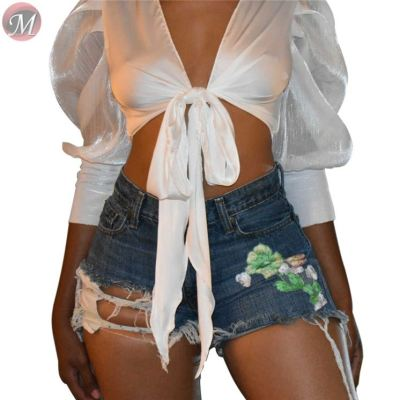 9081419 queenmoen fashionable washed ripped high stretch embroidered sexy women denim shorts
