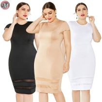 D908051 queenmoen fashionable hot selling solid 3 colors mesh splice O neck short sleeve ladies casual sexy plus size dress