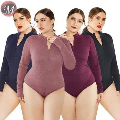 D908068 queenmoen new design stand collar long sleeve sexy new design solid color plus size women sweater tops bodysuit