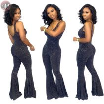 9081916 queenmoen 2019 sexy sleeveless backless bling sparkle sexy nightclub capri flared leg women jumpsuit