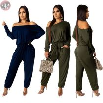 9081928 queenmoen newest fashion solid color long sleeve off shoulder loose casual women straight jumpsuit