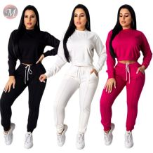9082126 queenmoen new leisure sports solid sleeve pullover short top drawstring long pants two piece women clothing set