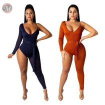 9082117 queenmoen casual fashion sparkle wrinkle nightclub asymmetrical solid color one piece women sexy bodysuit jumpsuit