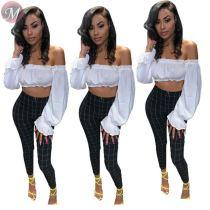 9082213 newest hot fashion mid waist plaid print women casual skinny pencil pants trousers
