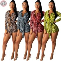 9082221 casual fashion classic autumn new long sleeve bandage bodycon sexy women leopard jumpsuit romper