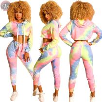 9082227 new arrival autumn colorful print long sleeve crop hoodie pencil pants woman two piece set