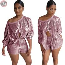 9082230 new fashion wide round neck long sleeve pullover sequin sparkle casual women clothing two piece short set