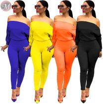9082202 new arrival solid color double zipper neck long sleeve off-shoulder one piece women jumpsuits